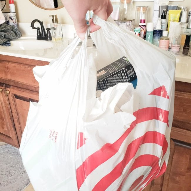 trash filled target grocery bag