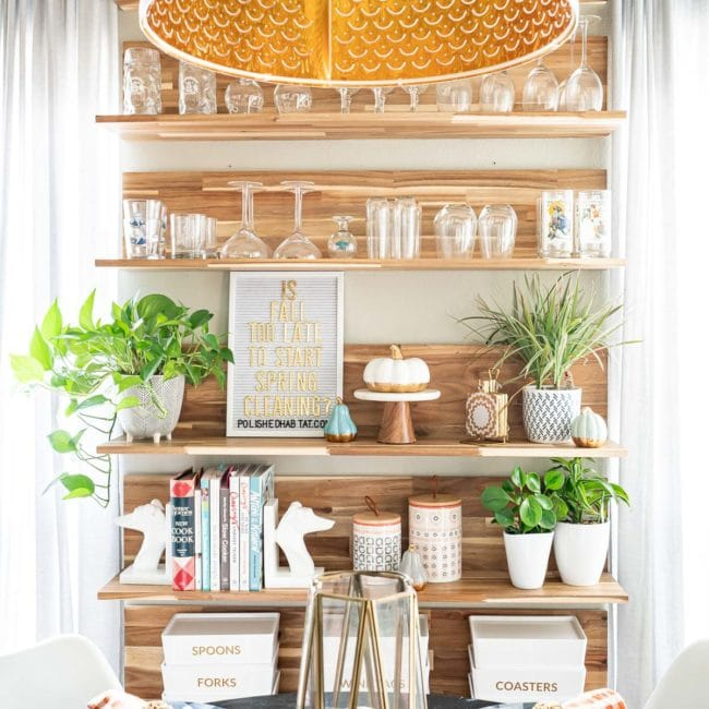 decorated wood shelves