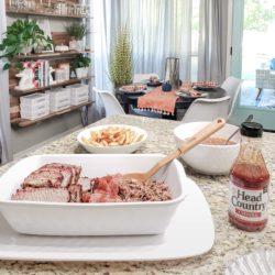 BBQ spread in a kitchen