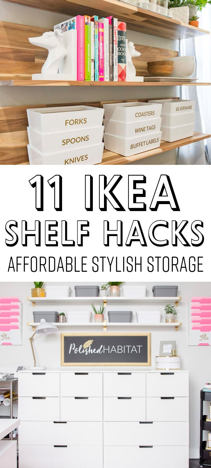 IKEA Shelf Hacks - White with Gold Brackets & Wood Shelves