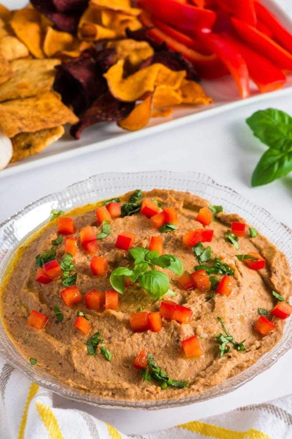 Close up of Mediterranean hummus