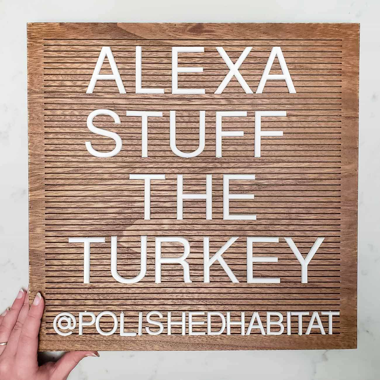 Wood Letter Board - Alexa Stuff the Turkey