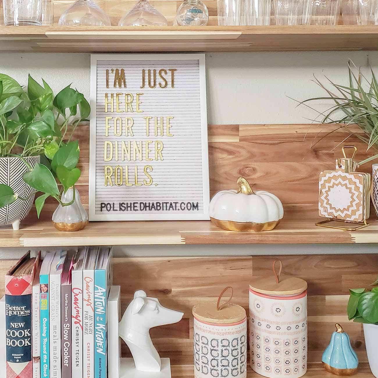 White Letter Board on Wood Shelves