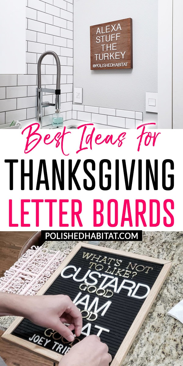 Best Ideas for Thanksgiving Letter Boards (Phrase with photos of a wood & black letter board)