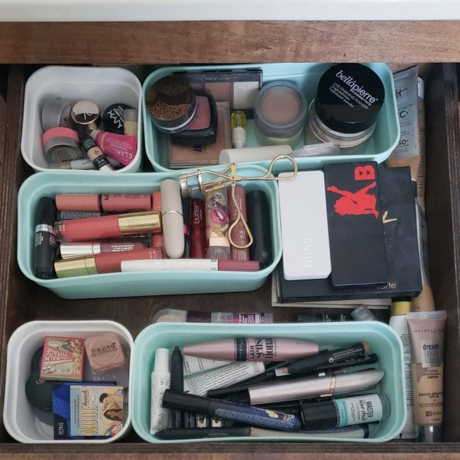 makeup in a drawer