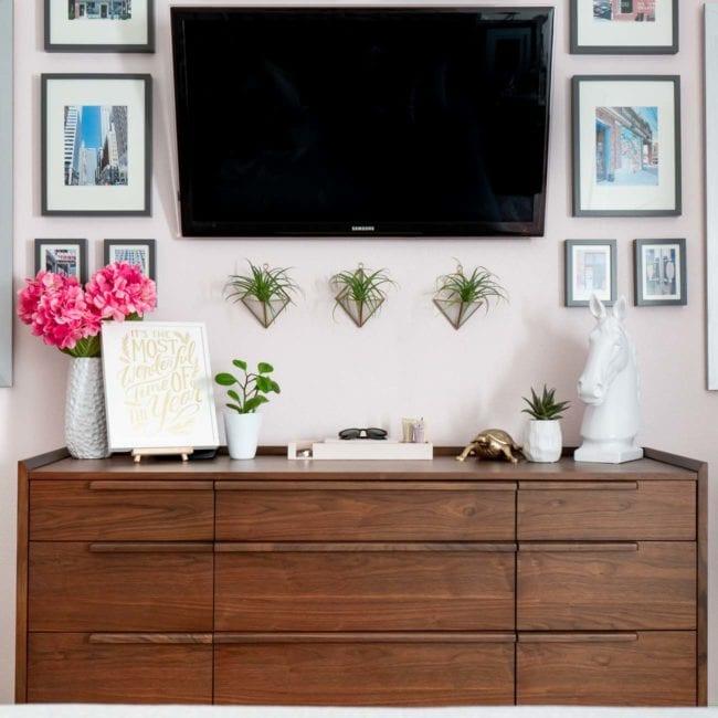 Wood MCM dresser in bedroom