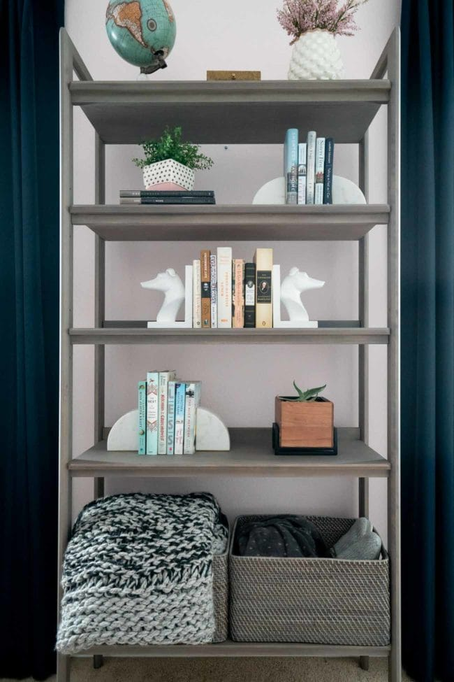 Grey MCM Bookcase staged in bedroom