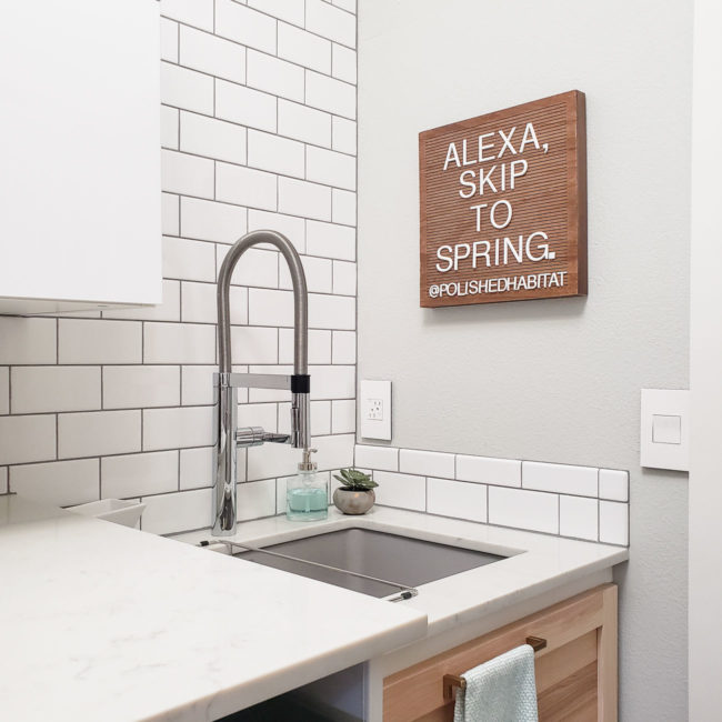 Laundry room with wood letter board - Alexa Skip to Spring