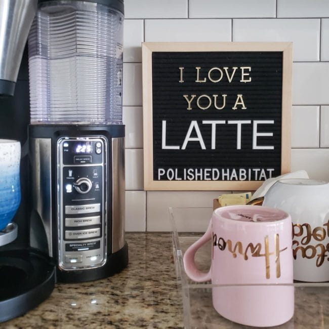Black Letter Board in kitchen - I Love You a Latte!
