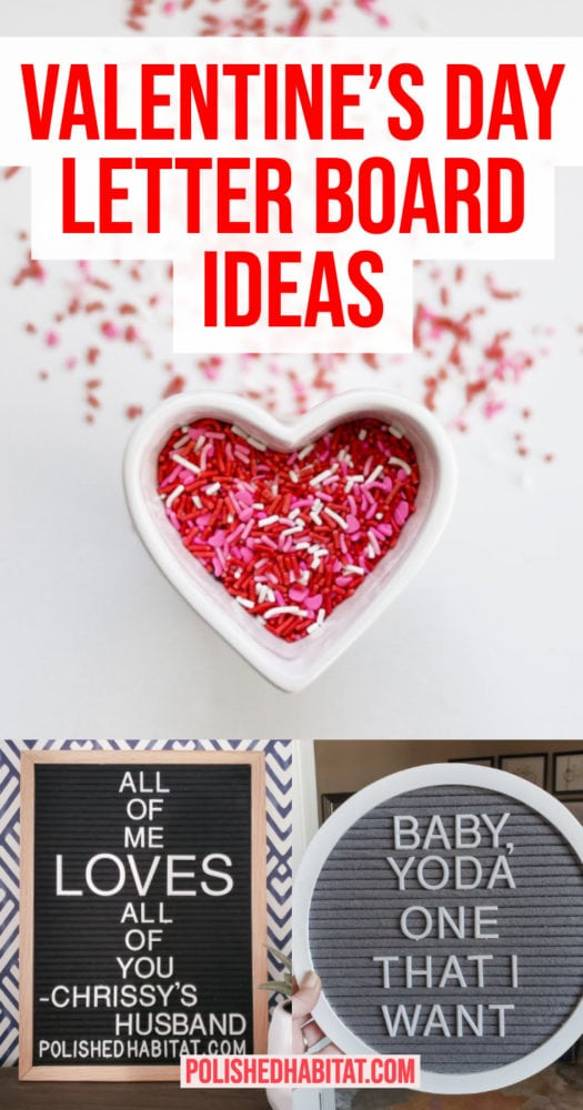 Valentine's Day Letter Board Ideas - 2 letter boards and sprinkles in heart container