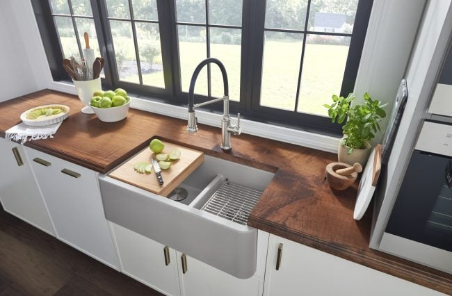 Gray Apron Front Sink, White cabinet & Wood Counters