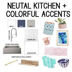 Kitchen Mood Board - Grey sink, white cabinets, wood and gold accents PLUS teal, pink, and navy accessories
