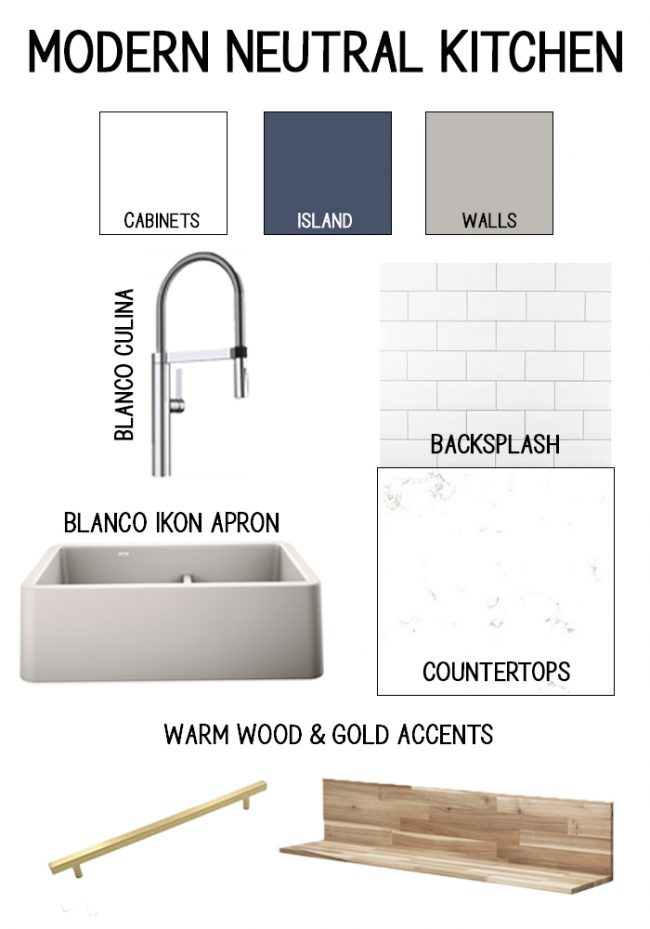 Kitchen mood board - gray farmhouse sink, subway tile, marble counters, modern faucet