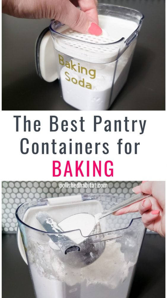 Flour and Baking Soda being  scooped from clear containers