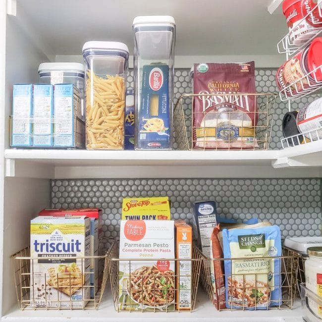 Pantry Shelves with Baskets for Rice, Crackers, Pasta, Etc