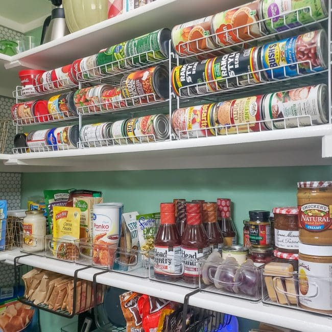 Pantry organization - racks for cans and clear bins for pantry staples
