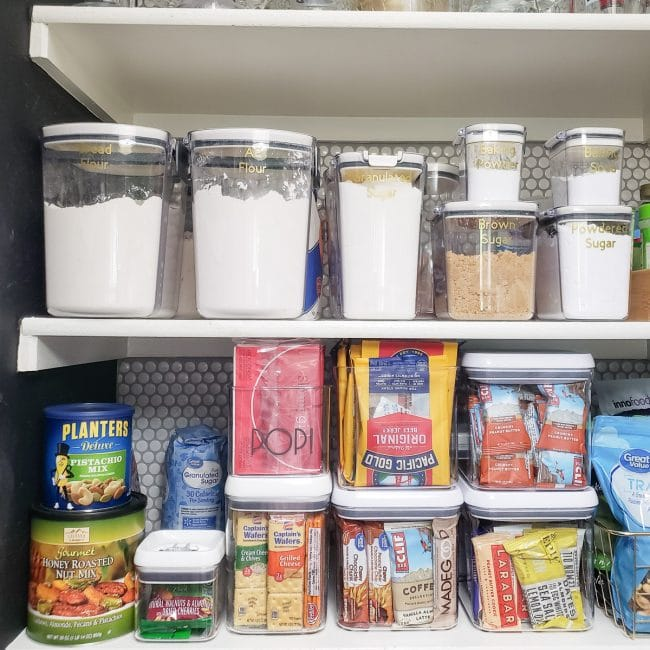 Organized Pantry Shelf with Baking Supply Containers & Snacks