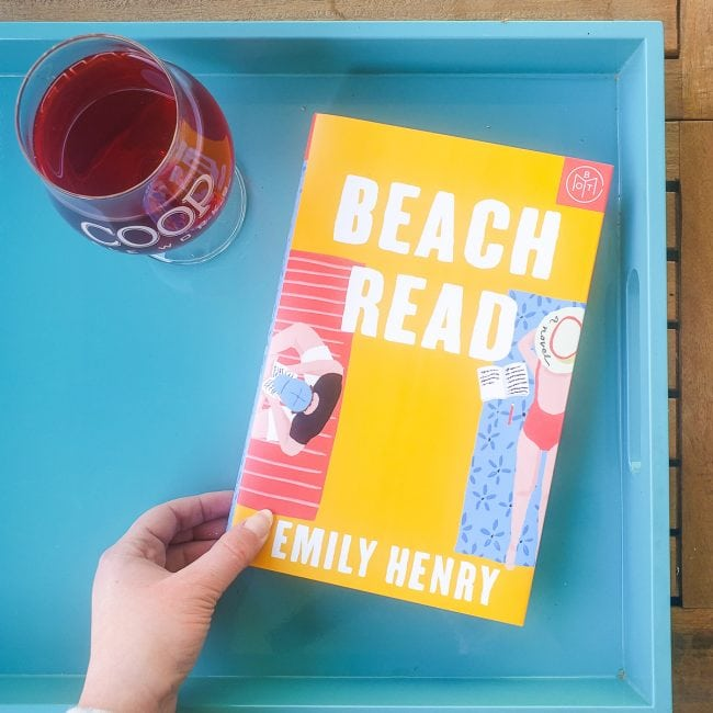 Beach Read Book on Teal Tray