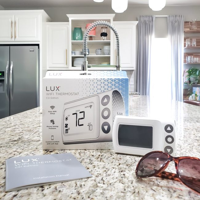 LUX CS1 Thermostat & Box on Kitchen Counter