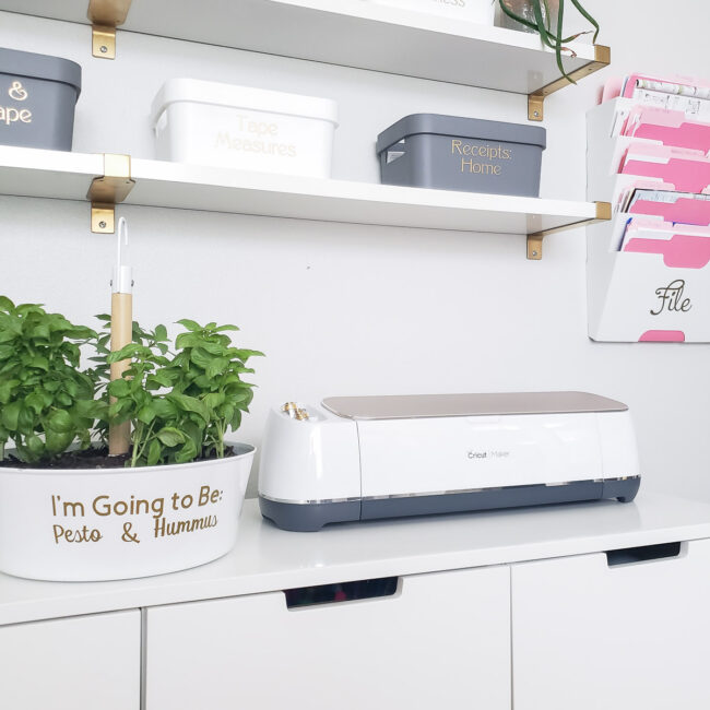 herb planter next to cricut maker