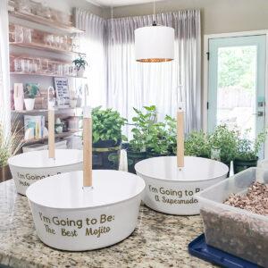 2 round white planters on kitchen counter