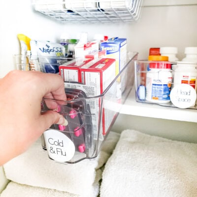 Clear bin of cold & flu medicine