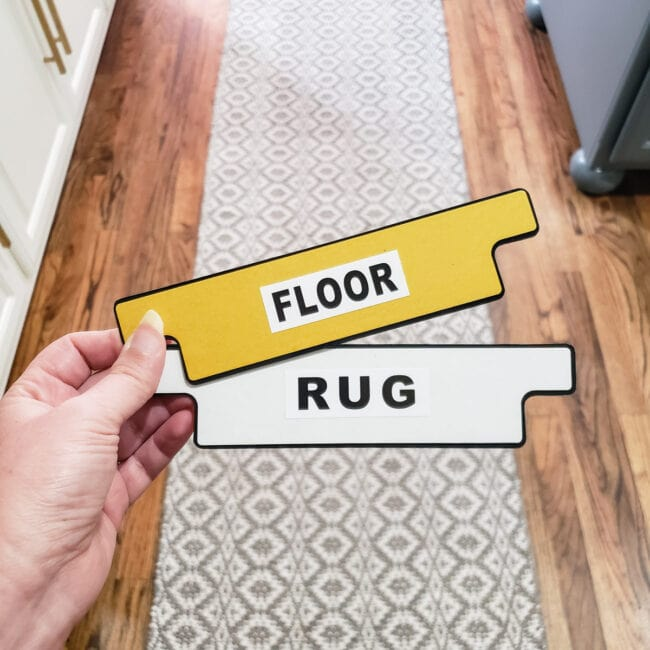 Rug Grippers labeled floor & rug