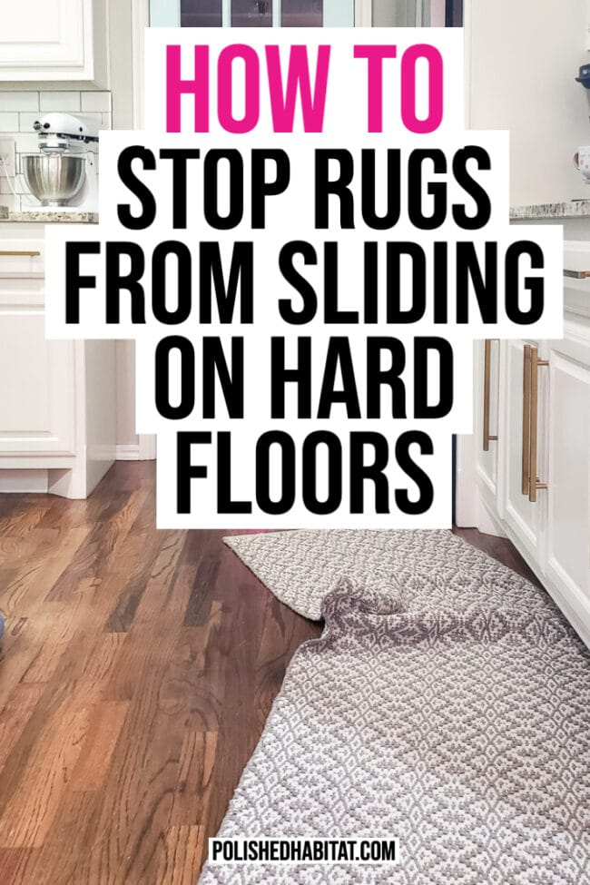 Stop Rugs from Sliding (Image of rug out of place on wood floor)