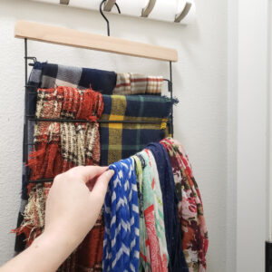 Womens scarves on multi-level pants hanger