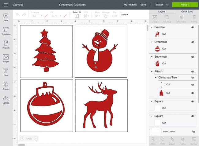Screenshot of Cricut Design Space showing 4 red Christmas symbols in white boxes - tree, snowman, ornmanent, and a deet