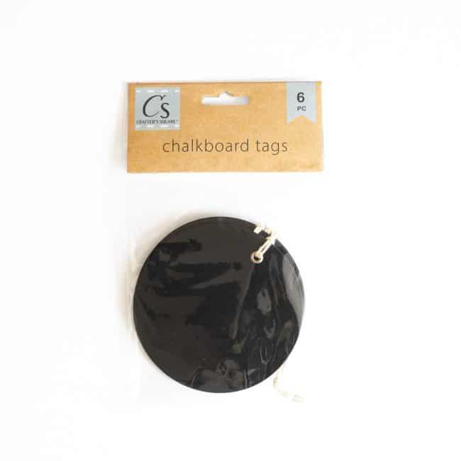 round black chalkboard labels with twine hanger