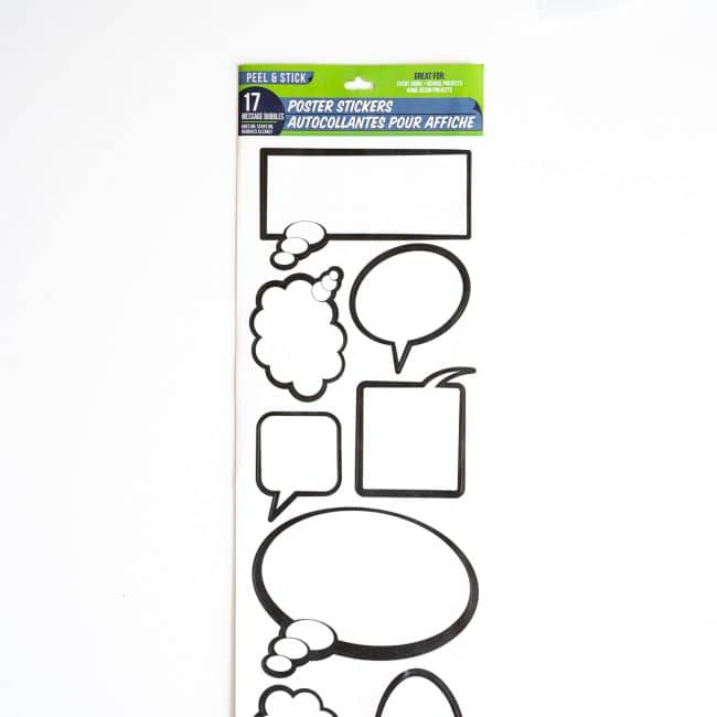 white speech bubble labels with black outline