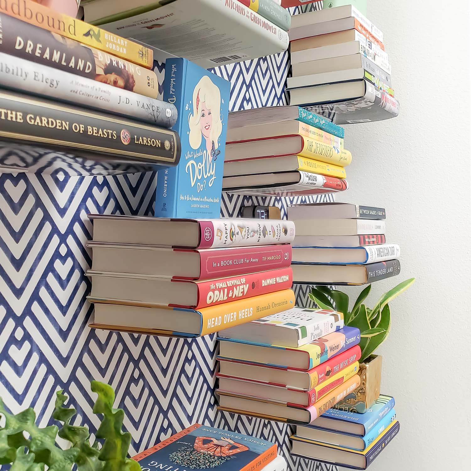 Books Stacks mounting on the wall with invisible brackets