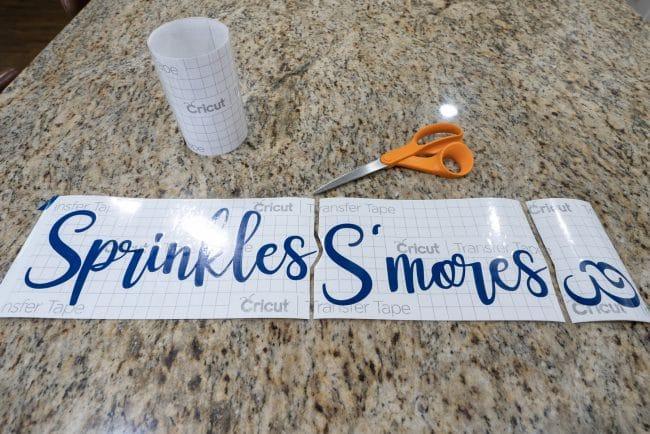 Cut vinyl saying Sprinkles Smore's &